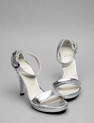 Silver Peep Toe Court Shoe