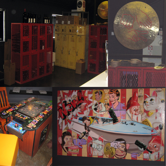 A giant rock, paper, scissors gong sits atop old school lockers in primary colors.  Tasters can enjoy the interesting artwork while playing a game of Pac-Man.