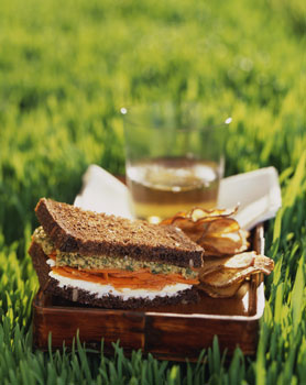 Moroccan Carrot Goat Cheese Sandwiches with Green Olive Tapenade