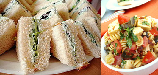 Supplement the store bought goods with a few homemade treats. A plastic container with pasta salad or wax paper wrapped tea sandwiches are easy to make in large quantities.  Source