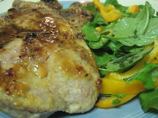 Garlic-Miso Pork Chops With Orange Bell Pepper and Arugula