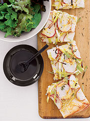 Fast & Easy Dinner: Potato and Leek Flat Bread With Greens