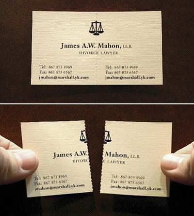 Business card from a divorce lawyer.
