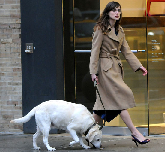Keira Knightley and Dog on Set of Last Night in NYC's Meatpacking District