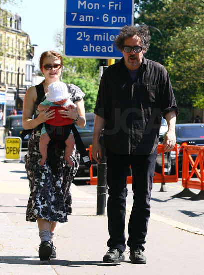 Tim Burton and Helena Bonham–Carter With Baby Girl