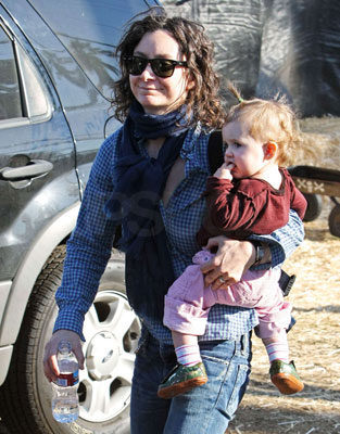 Sara Gilbert Hoists Her Wee One to the Pumpkin Patch