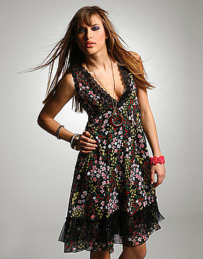 Mina Floral Print Layered Frill Hem Dress
