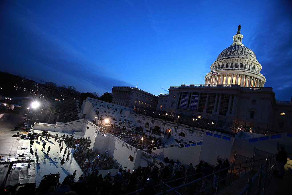 Preparations are finalized as the sun rises over the Capitol Dome the morning of rehearsal. Source