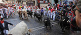 The first day of the San Fermin bull run on July 7 in Pamplona, northern Spain.