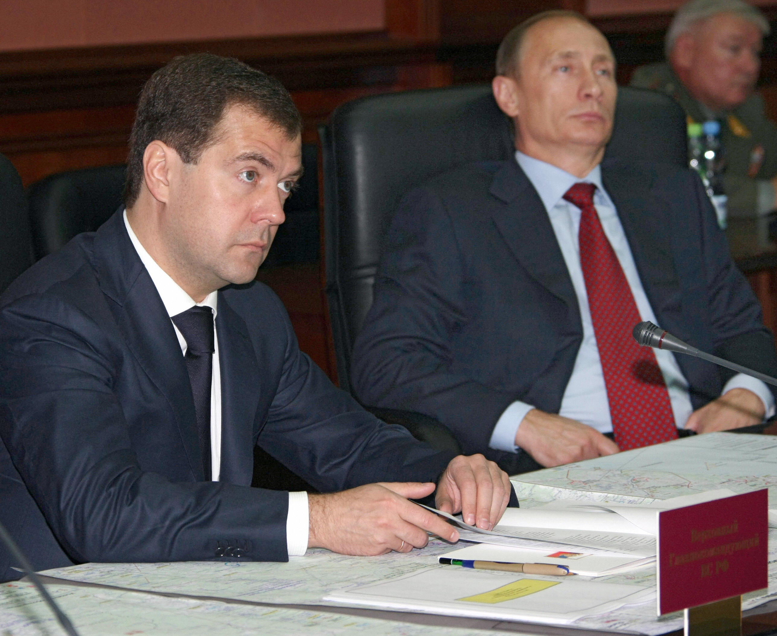 The two heads attend a conference in the Central command point of the Russian military forces.