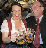 Andrea Nahles, vice-chairwoman of Germany's Social Democrats SPD party and Bavaria's SPD top-candidate Franz Maget