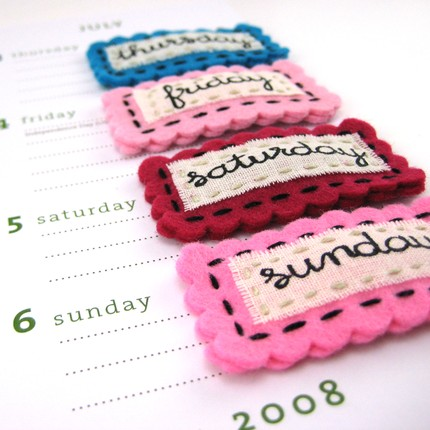 Days of the Week Hairclips