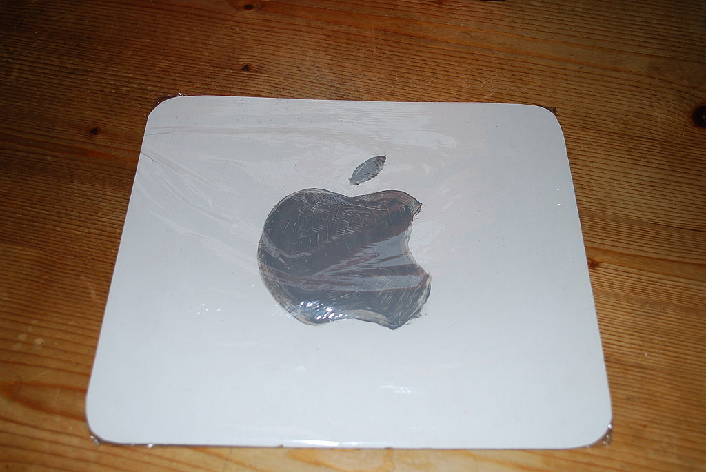 Once the paint has dried, cover the square with plastic wrap to simulate the iPod screen.