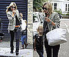 Kate Moss Exits Her House With Boyfriend Jamie Hince and Daughter Lila Grace Carrying a White Hermes Birkin