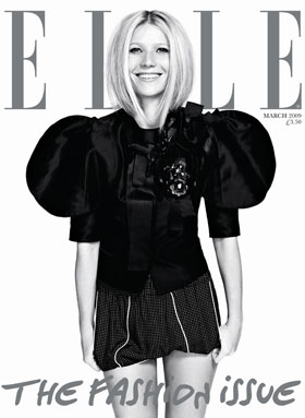 "March 2009 Cover of Elle UK Magazine  ""The Fashion Issue"" Featuring Gwyneth Paltrow Plus Interview Excerpts"