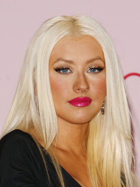 Photo of Christina Aguilera at Inspire Perfume Launch with Bleach Blonde Hair, Glossy Raspberry Lipstick, Fake Tan. Love or Hate