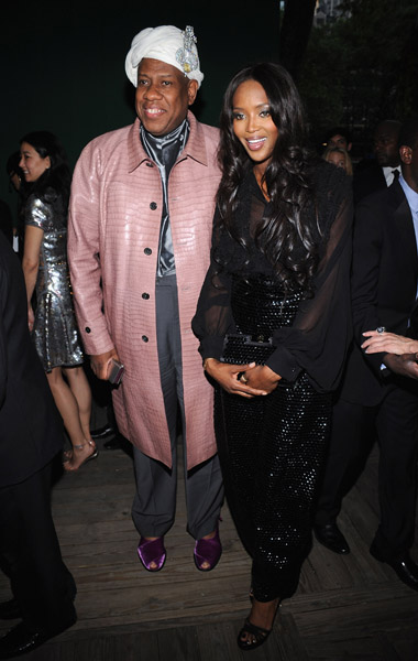 Andre Leon Talley and Naomi Campbell in Fall 2008 YSL.