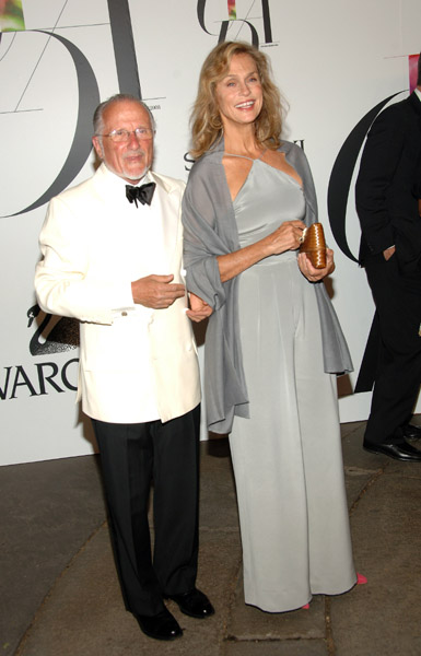Stan Herman and Lauren Hutton in Calvin Klein Collection.