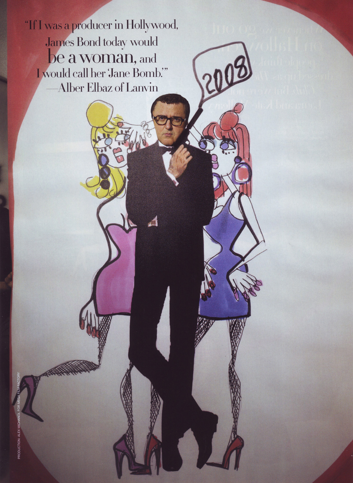 Alber Elbaz as a James Bond-like Hollywood producer.