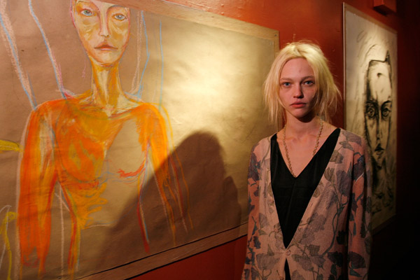 "Feb 8: With her artwork at her ""I Spy"" exhibition."