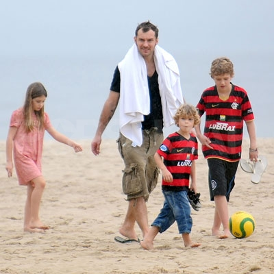 Jude Law's Brood Hits the Beach