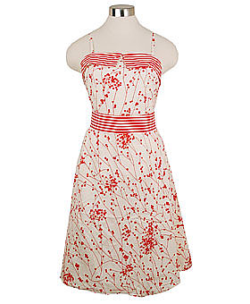 Retro Cherry Blossom Cotton Poplin Halter Dress ($49)
