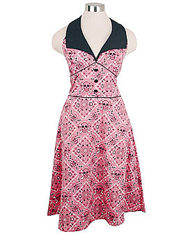 Pink Skull Bandana Halter Dress by Rock Steady ($59)
