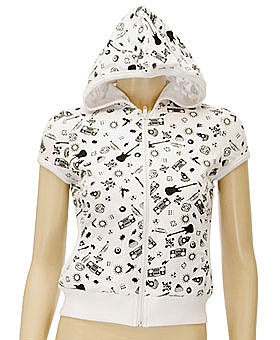 Music Print Puff Sleeve Hoodie Sweatshirt ($26)