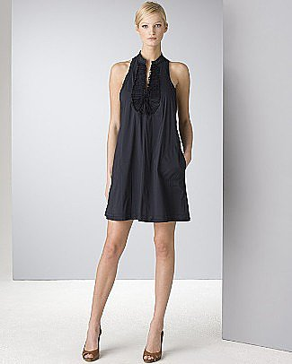 BCBGMAXAZRIA Women's Stretch Cotton Blend Ruffle Front Sleeveless Dress - Dresses - Bloomingdales.com