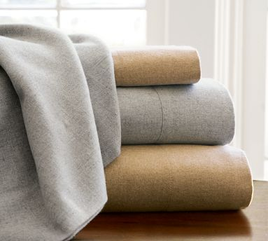 Now's the time (if you haven't already!) to switch out your cotton sheets for some fuzzy flannels. These heathered organic flannel sheets ($139-$189) come in easy-to-coordinate neutrals.
