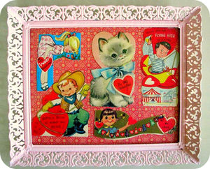This valentine card tray, from Vintage Indie