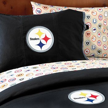 You could dress your bed in this logo-emblazoned Pittsburgh Steelers Duvet Cover and Pillowcase ($39-$199), but I'd have to kill you.