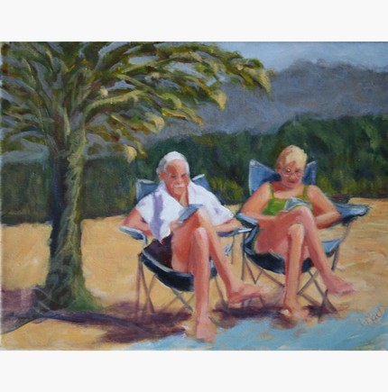 There's nothing more romantic than retirement — especially on a beach. Ahh Retirement ($90) is an 11-x14-inch original acrylic painting.