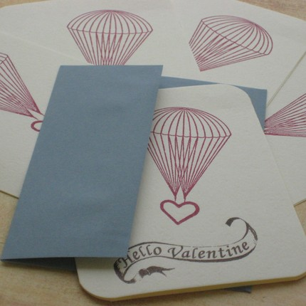 The Hello Valentine Card Pack ($12 for 5) parachutes your sweet nothings to all of your valentines.