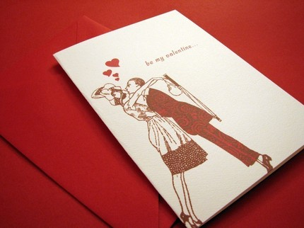 Get inspired by the sweet smooch of this vintage couple featured on the Sassy Card ($4).