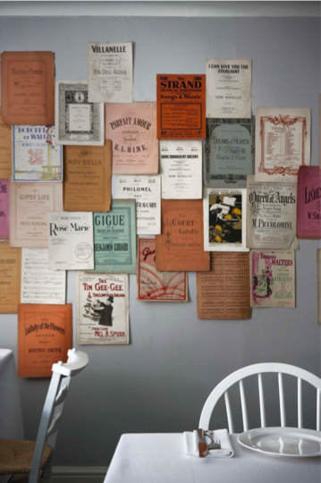 There's strength in numbers. Playing on the theater-centric location of the restaurant, Ilse created a display out of vintage playbills simply pinned to the wall. Alone, one of these stage relics wouldn't make much of a statement, but together the collection speaks wonders. Try it in your home with vintage magazine covers, report cards, old love letters, whatever works for you!