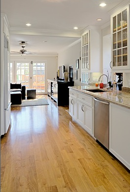 A long, spacious kitchen allows the owners plenty of room for cooking and entertaining.