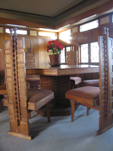 The unusual furniture is Wright's design as well.