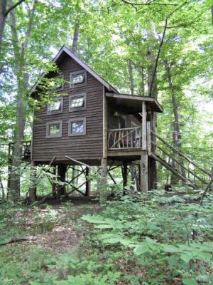 This property also features an amazing treehouse in the woods.