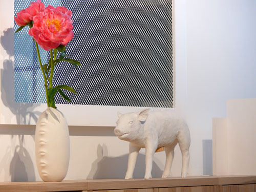 The Harry Allen Pig Bank ($95) and Jonathan Adler Gala Vase are a surreal pair.