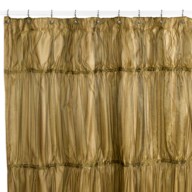 The Illumination Antique Gold Shower Curtain ($39.99) emulates the glitzy cocktail dress not only in color, but also with its unusual scrunched texture.