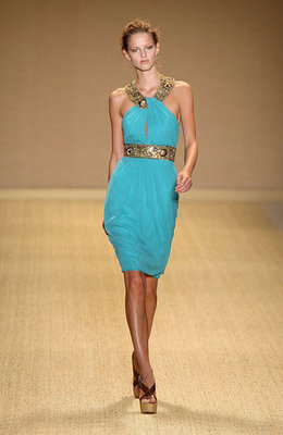 Turquoise with a punch of gold makes an eye-catching cocktail dress.