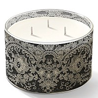The Emma Black Lace 3 Wick Candle ($55) is less fussy, but fine and feminine in its black lace holder.