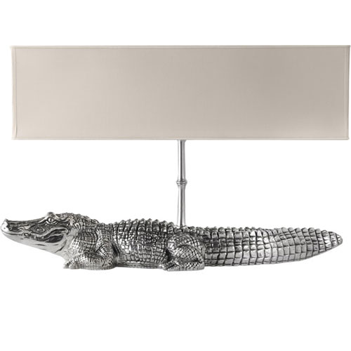 The Cipola Pewter Crocodile Lamp ($2,500) imitates this mix of serious and sparkle.