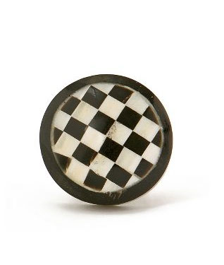 Make a statement on a black lacquer chest of drawers by switching out the hardware for these checkerboard drawer pulls ($6 each).