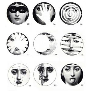 Is it just me, or is the young lady on the Fornasetti Theme and Variations Plates ($185) a little disturbed? (And a little disturbing.)
