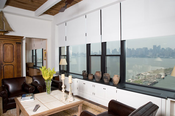 This Hoboken condo has gorgeous views of the Hudson River and Manhattan beyond.