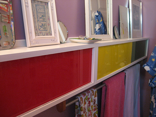 These colorful shelves were built by Laurel's friend, furniture maker Ashley Eriksmoen.