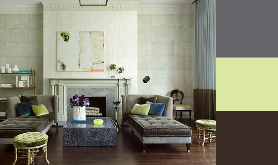 Here, a pear green lightens the mood of grays and dark wood floors. Source