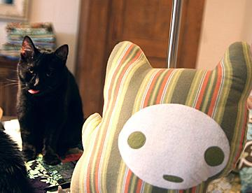 A kitty stares down its pillowed likeness. You can get the free pattern for this pillow here.